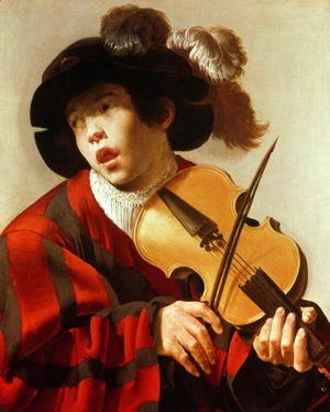 Boy Playing Stringed Instrument and Singing 1627