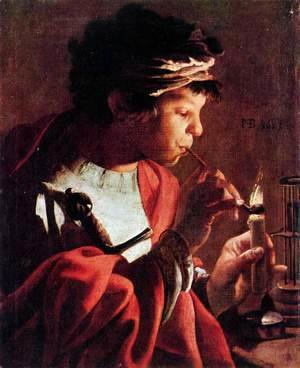 Boy Lighting a Pipe 1623