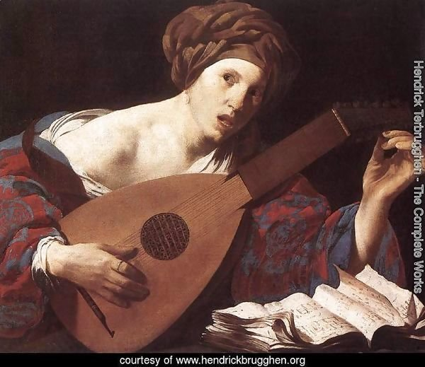 Woman Playing the Lute 1624-26