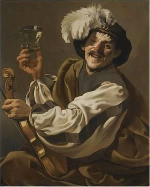 A Jovial Violinist Holding A Glass Of Wine