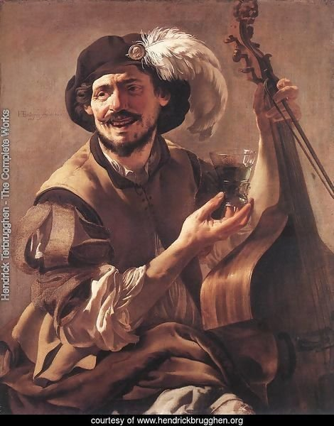 A Laughing Bravo with a Bass Viol and a Glass 1625