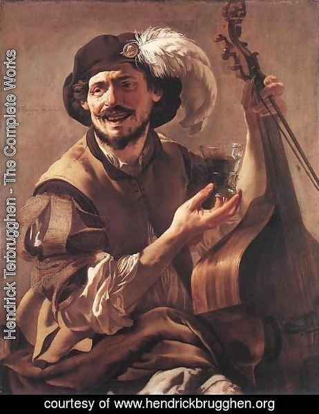 Hendrick Terbrugghen - A Laughing Bravo with a Bass Viol and a Glass 1625